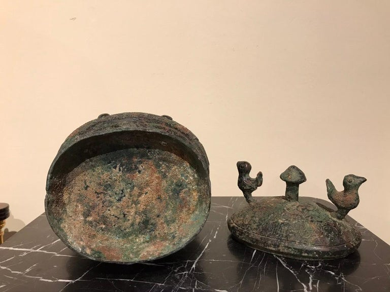 Chinese Archaistic Bronze Lidded Vessel with Bird Handles For Sale 15