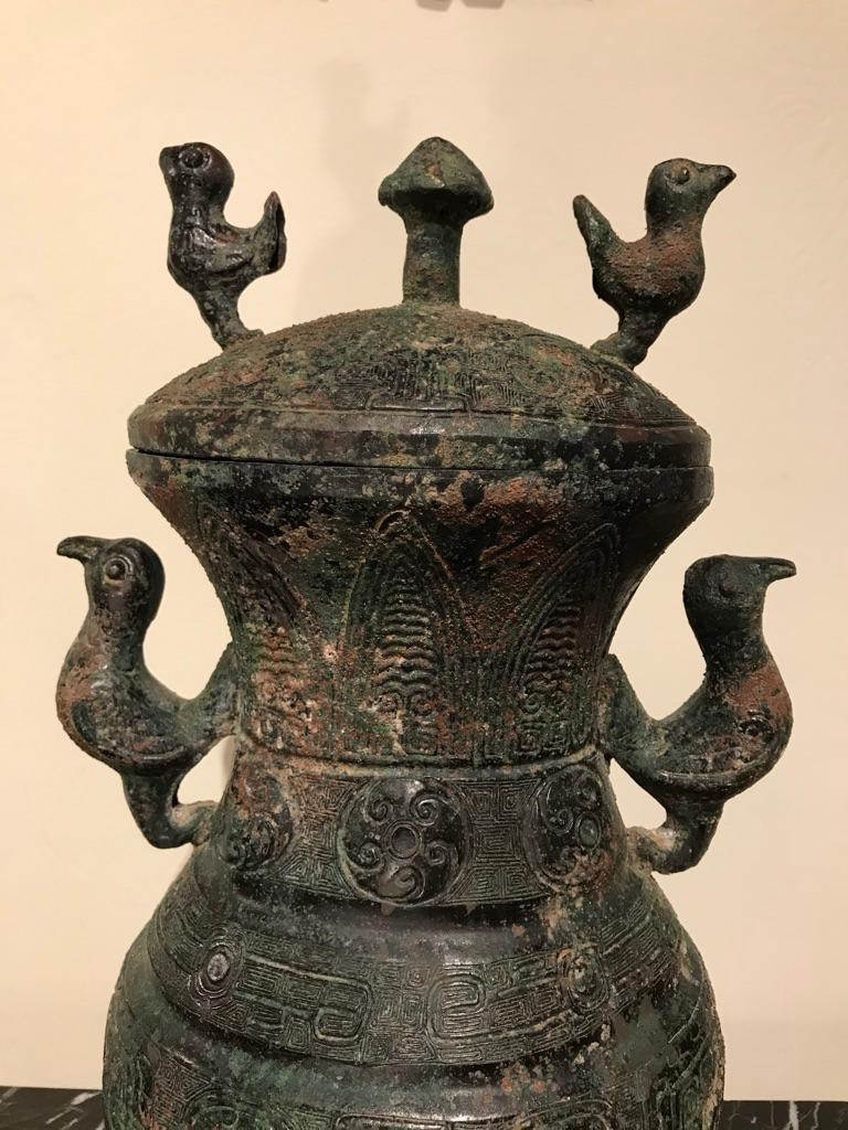 Chinese Archaistic Bronze Lidded Vessel with Bird Handles In Good Condition For Sale In Stamford, CT