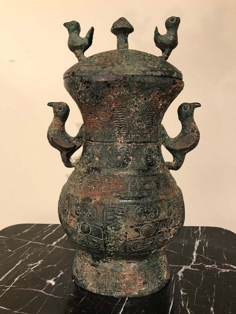 Chinese Archaistic Bronze Lidded Vessel with Bird Handles For Sale 3