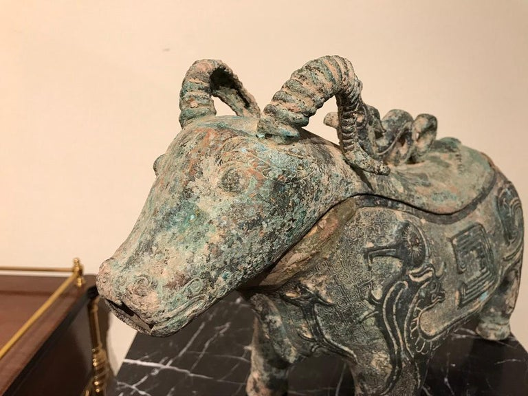 Chinese Archaistic Bronze Ritual Ram-Form Wine Vessel For Sale 5