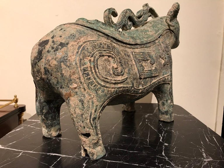 Chinese Archaistic Bronze Ritual Ram-Form Wine Vessel For Sale 11