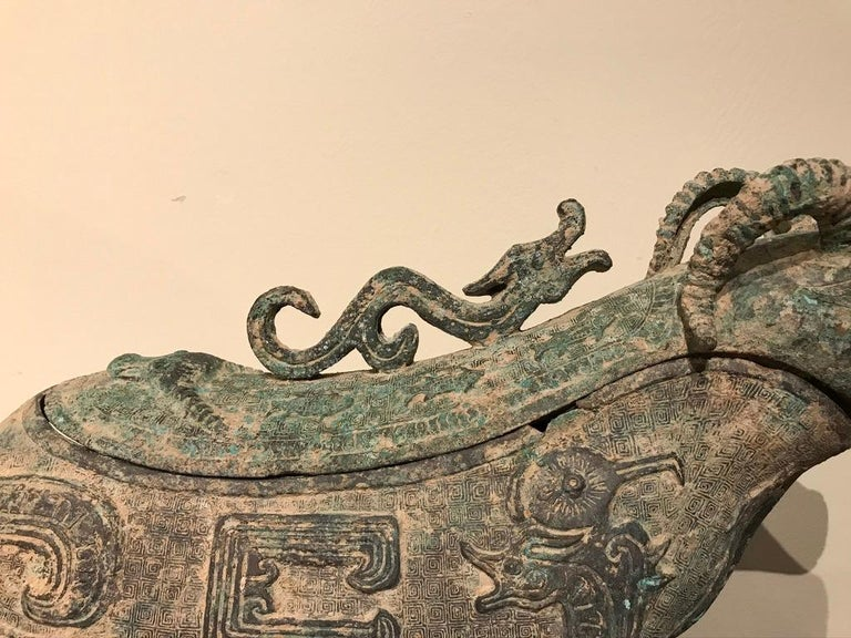 Chinese Archaistic Bronze Ritual Ram-Form Wine Vessel In Good Condition For Sale In Stamford, CT