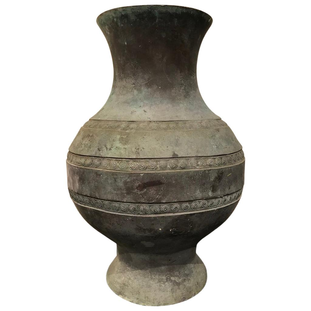 Chinese Archaistic Bronze Urn with Verdigris Patina
