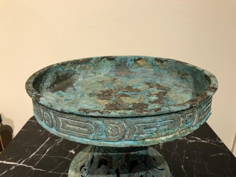 Chinese Archaistic Verdigris Bronze Tazza For Sale 7