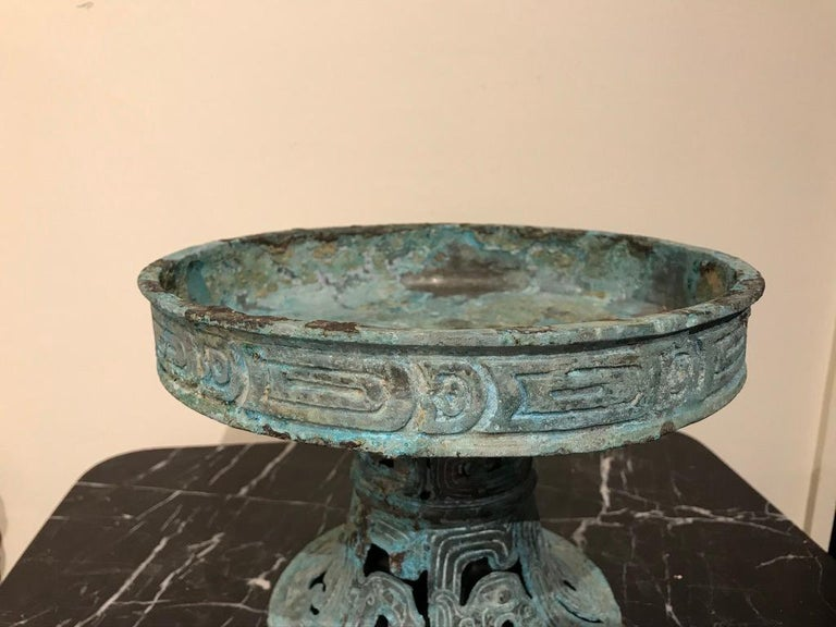 Chinese Archaistic Verdigris Bronze Tazza In Good Condition For Sale In Stamford, CT