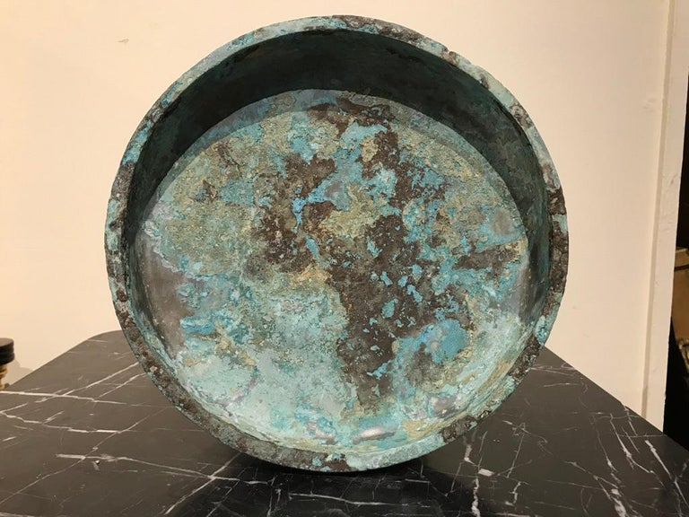 Chinese Archaistic Verdigris Bronze Tazza For Sale 3