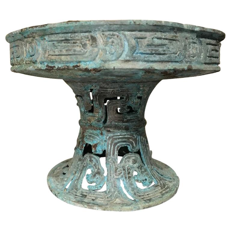 Chinese Archaistic Verdigris Bronze Tazza For Sale
