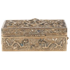 Art Deco Brass Rectangular Decorative Box with Dragon Motif in High Relief