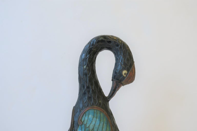 Art Deco Period Champlevé Bird Ashtray or Sculpture For Sale 1