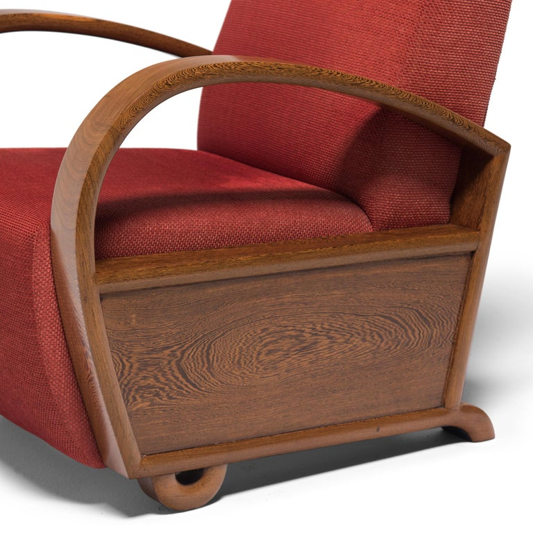 Fabric Chinese Art Deco Club Chair, circa 1920s-1930s For Sale