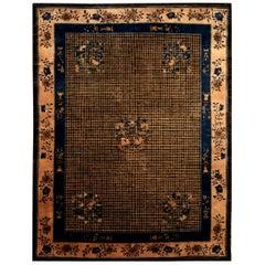 Chinese Art Deco Dark Brown, Beige and Blue Handmade Wool Rug