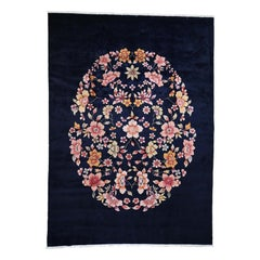 Chinese Art Deco Hand Knotted Navy Blue Oriental Rug