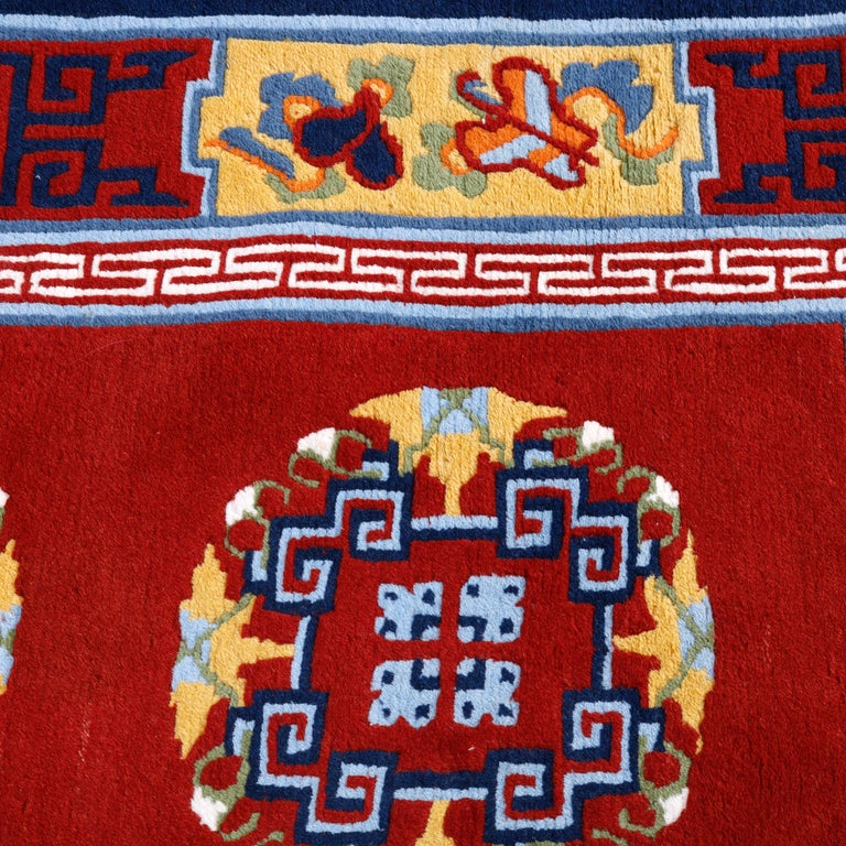 Woven Chinese Art Deco Oriental Wool Rug with Butterflies, c1940 For Sale