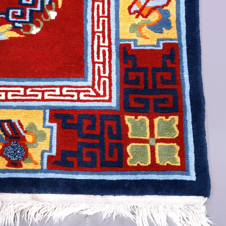 20th Century Chinese Art Deco Oriental Wool Rug with Butterflies, c1940 For Sale