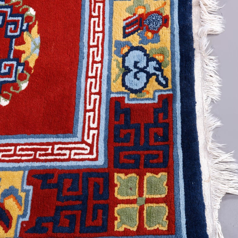 Chinese Art Deco Oriental Wool Rug with Butterflies, c1940 For Sale 1