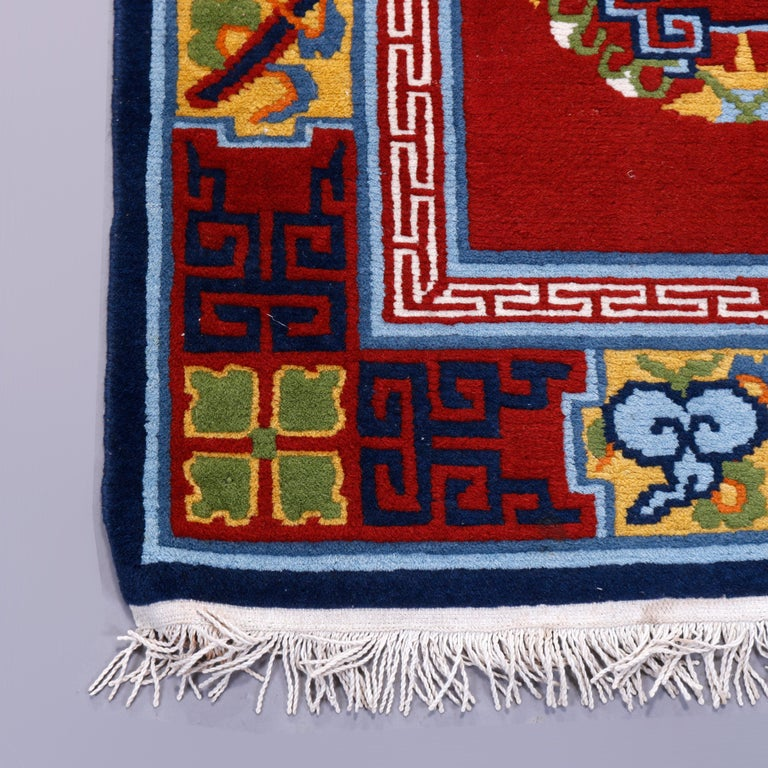 Chinese Art Deco Oriental Wool Rug with Butterflies, c1940 For Sale 4