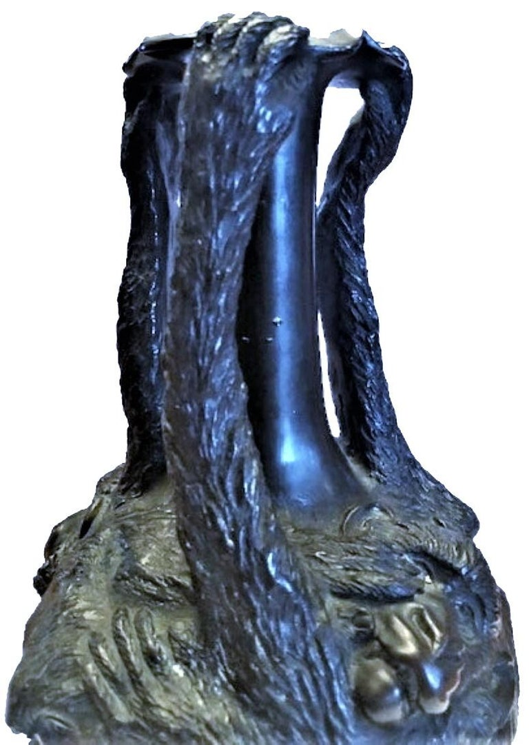 Chinese Art Deco Patinated Bronze Vase with Monkeys, circa 1920s For Sale 5
