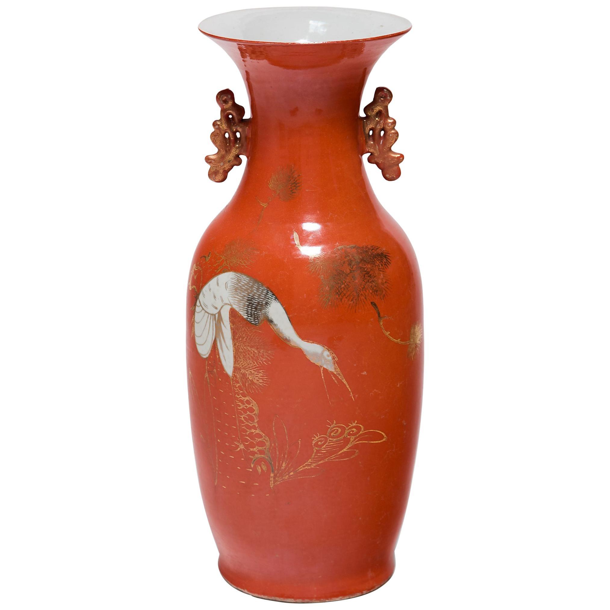 Chinese Art Deco Persimmon Vase with White Cranes, circa 1920s