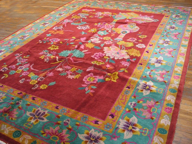Hand-Knotted Chinese Art Deco Rug For Sale