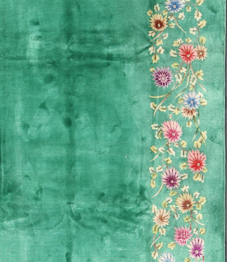 Chinese Art Deco Rug With Empty Green Field And Colorful