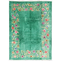Chinese Art Deco Rug with Empty Green Field and Colorful, Vining, Floral Border