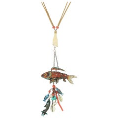 Chinese Articulated Enamel Fish Charm Necklace With Coral
