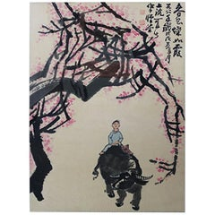 Chinese Artist Li Keran Boy and Buffalo Ink and Color on Paper