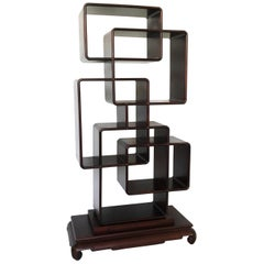 Chinese Asymmetrical Zitan Wood Collector's Shelf/Room Divider