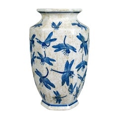 Chinese Baluster Vase, Oriental Hexagonal Blue and White, Dragonfly 20th Century