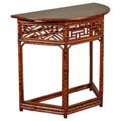 Chinese Bamboo Half Moon Table with Black Top
