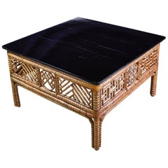 Antique Chinese Bamboo Square Coffee Table with Black-Lacquered Top, circa 1850