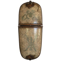 Chinese Beige Shagreen Brass Mounted Eyeglass Case, Early 20th Century