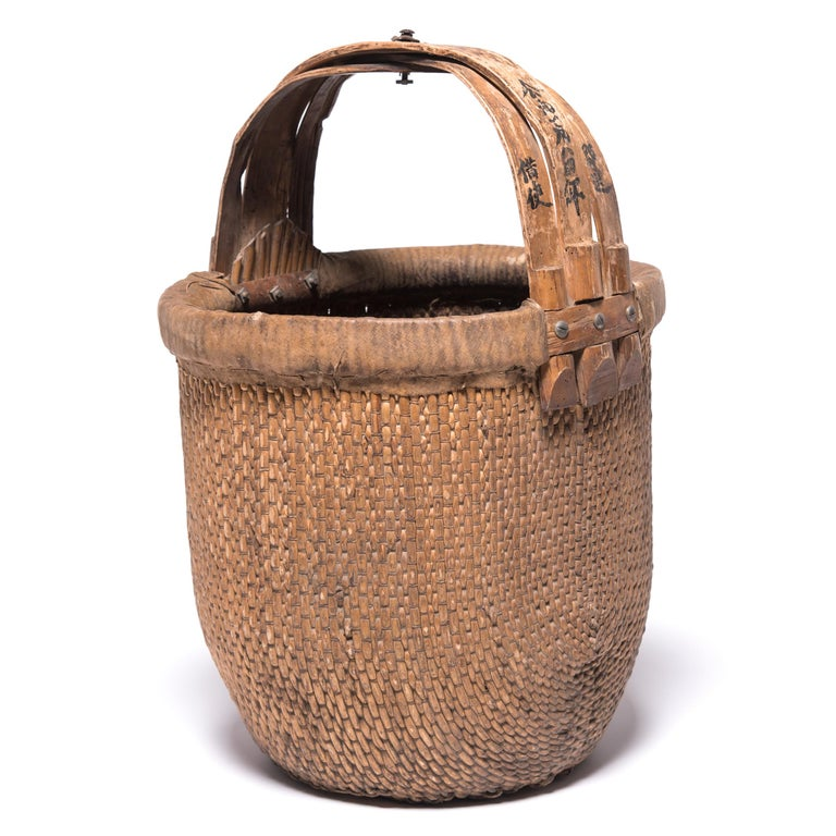Qing Chinese Bent Handle Basket, circa 1850 For Sale