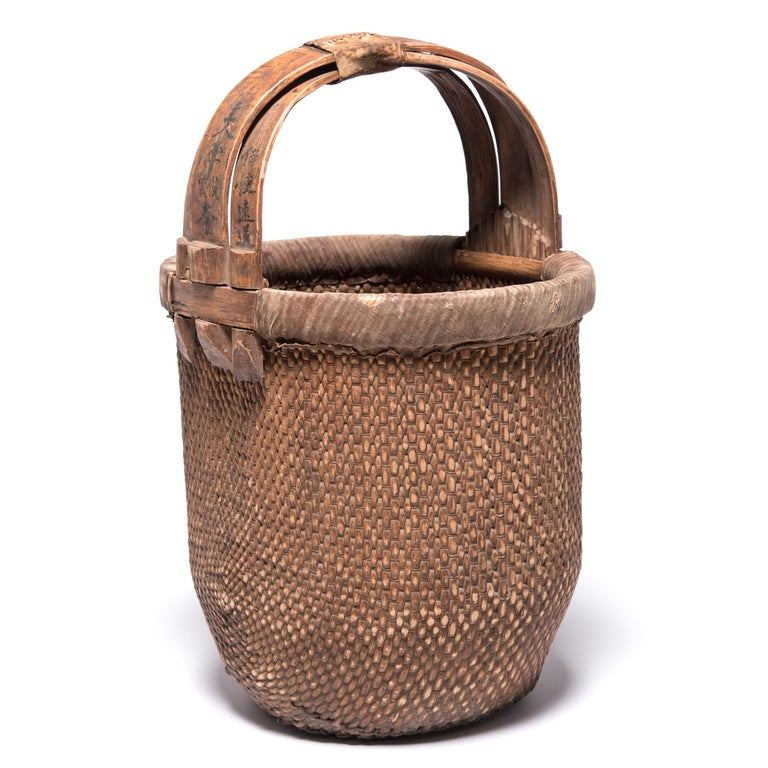 Hand-Woven Chinese Bent Handle Basket, circa 1850 For Sale