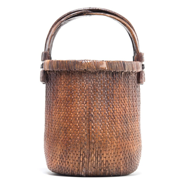 Rustic Chinese Bent Handle Willow Basket, circa 1900 For Sale