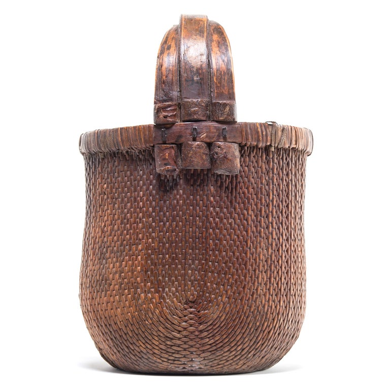 Hand-Woven Chinese Bent Handle Willow Basket, circa 1900 For Sale