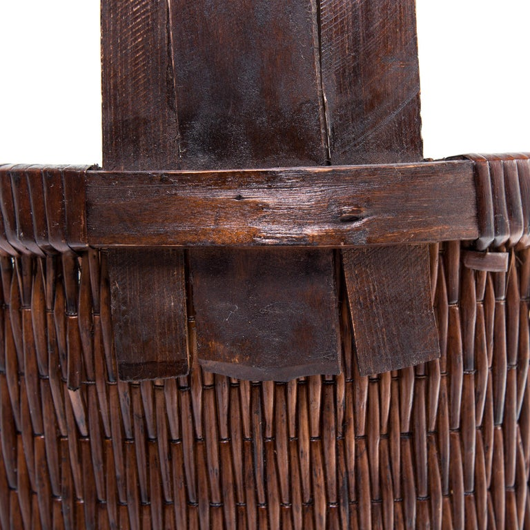 Chinese Bent Handle Willow Basket, circa 1900 For Sale 1