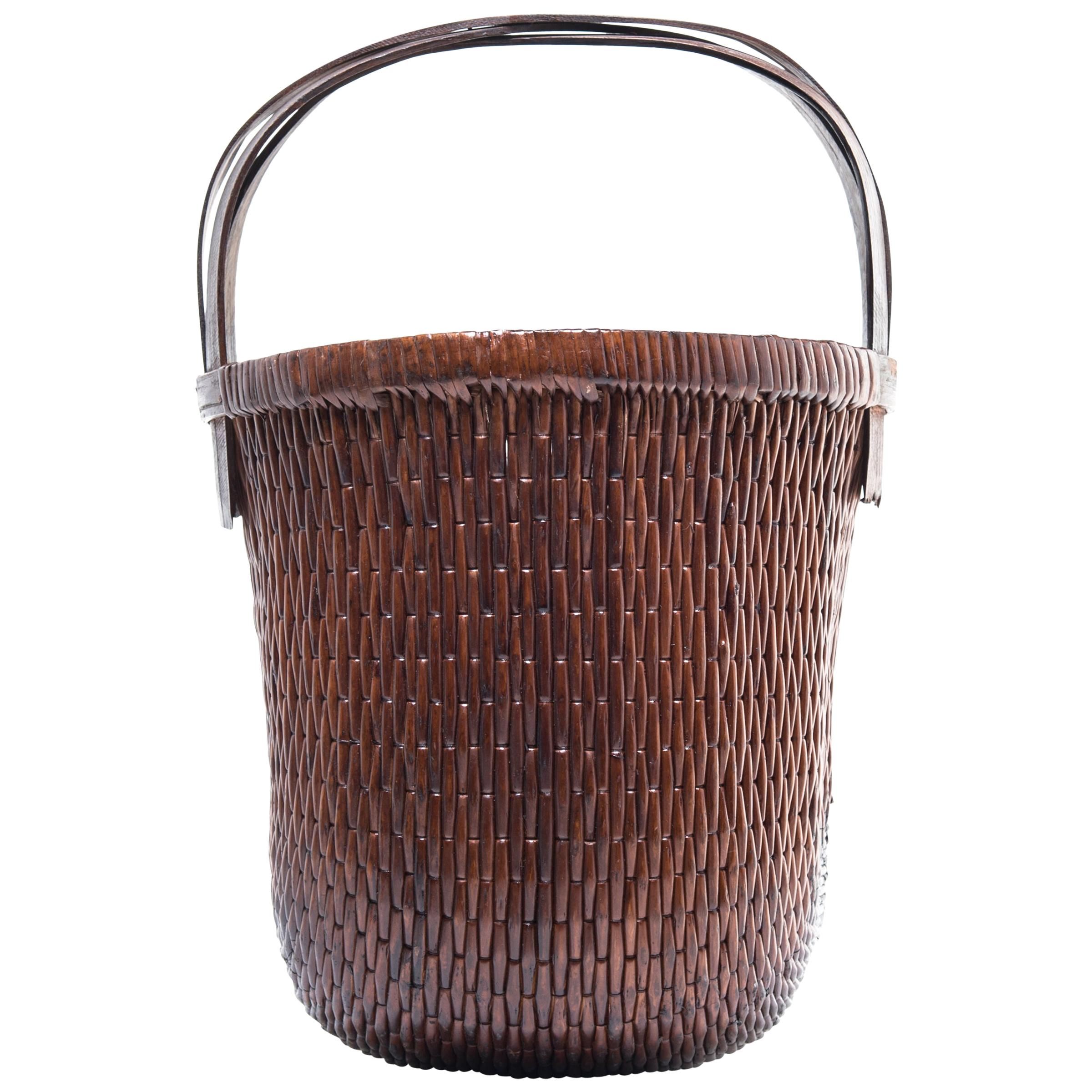 Chinese Bent Handle Willow Basket, circa 1900