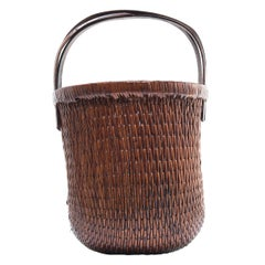 Chinese Bent Handle Willow Basket, circa 1900
