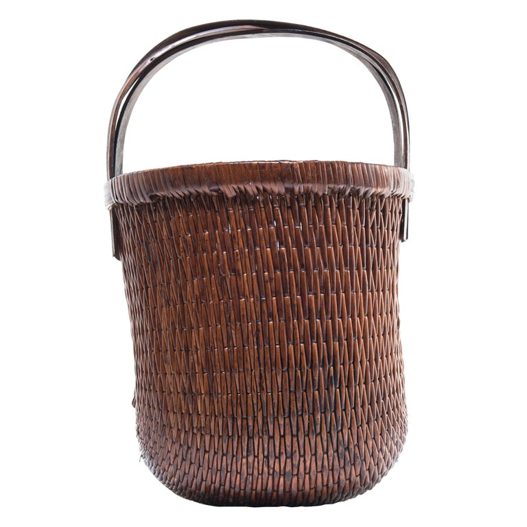 Chinese Bent Handle Willow Basket, circa 1900 For Sale