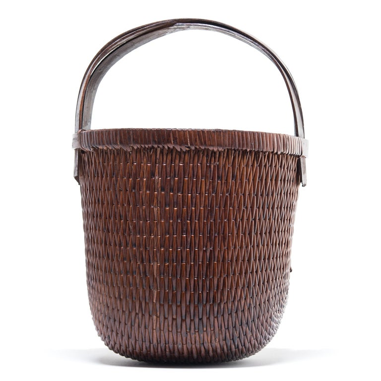Organic Modern Chinese Bent Handle Willow Basket For Sale