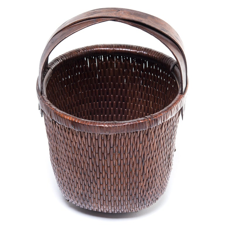 20th Century Chinese Bent Handle Willow Basket For Sale