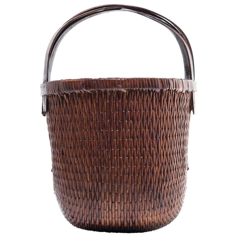 Chinese Bent Handle Willow Basket For Sale