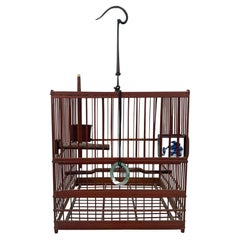 Chinese Birdcage with Porcelain Feeding Bowls, Vintage Mid-20th Century