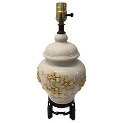 Chinese Bisque Export Yellow and Cream Floral Ceramic Table Lamp