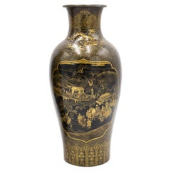 Chinese Black and Gilt Lacquer Vases