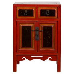 Chinese Black and Red Small Cabinet from the Qing Dynasty, with Carved Apron