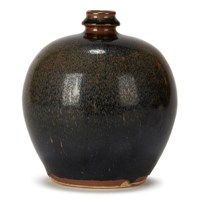 Chinese Black and Brown Haresfur Glazed Bulbous Pottery Vase, 20th Century For Sale 1