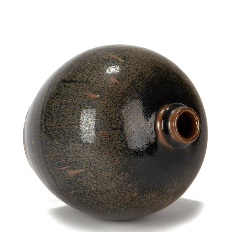 Chinese Black and Brown Haresfur Glazed Bulbous Pottery Vase, 20th Century For Sale 4
