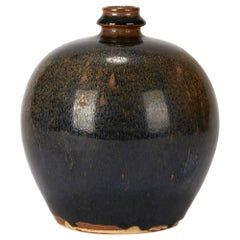 Chinese Black and Brown Haresfur Glazed Bulbous Pottery Vase, 20th Century